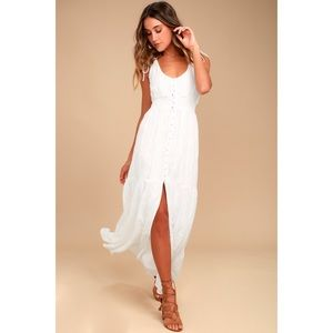 Lulu's White Embroidered Maxi Dress